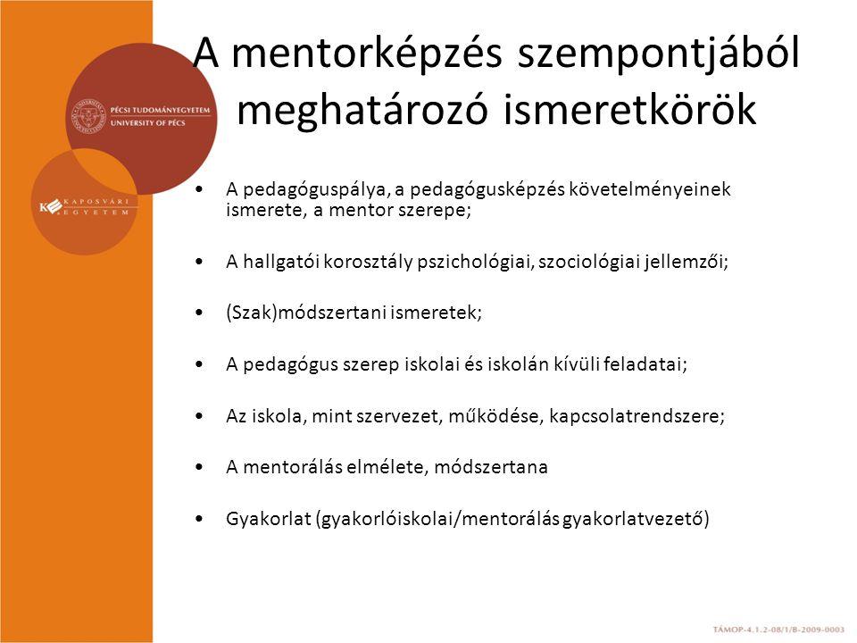 A mentorképzés szempontjából meghatározó ismeretkörök A pedagóguspálya, a pedagógusképzés követelményeinek ismerete, a mentor szerepe; A hallgatói korosztály pszichológiai, szociológiai jellemzői; (Szak)módszertani ismeretek; A pedagógus szerep iskolai és iskolán kívüli feladatai; Az iskola, mint szervezet, működése, kapcsolatrendszere; A mentorálás elmélete, módszertana Gyakorlat (gyakorlóiskolai/mentorálás gyakorlatvezető)