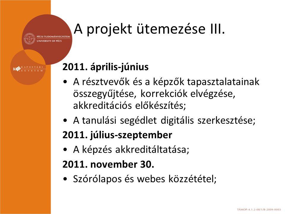 A projekt ütemezése III.2011.