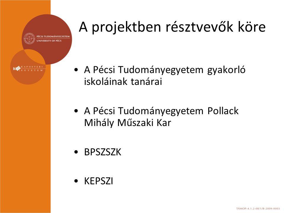 A projektben résztvevők köre A Pécsi Tudományegyetem gyakorló iskoláinak tanárai A Pécsi Tudományegyetem Pollack Mihály Műszaki Kar BPSZSZK KEPSZI