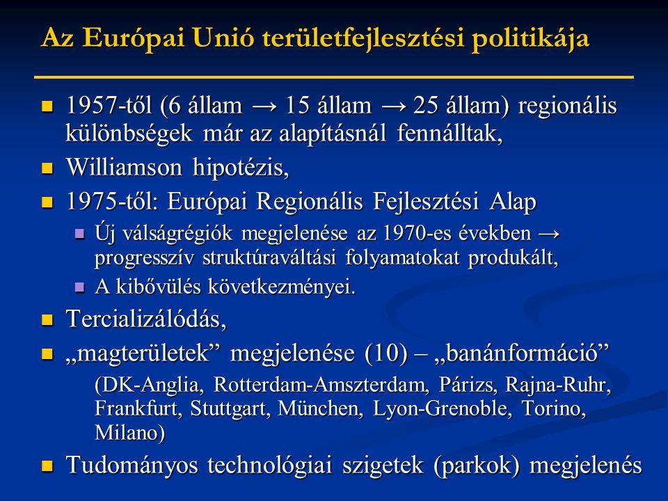 Az Európai Unió területfejlesztési politikája 1957-től (6 állam → 15 állam → 25 állam) regionális különbségek már az alapításnál fennálltak, 1957-től (6 állam → 15 állam → 25 állam) regionális különbségek már az alapításnál fennálltak, Williamson hipotézis, Williamson hipotézis, 1975-től: Európai Regionális Fejlesztési Alap 1975-től: Európai Regionális Fejlesztési Alap Új válságrégiók megjelenése az 1970-es években → progresszív struktúraváltási folyamatokat produkált, Új válságrégiók megjelenése az 1970-es években → progresszív struktúraváltási folyamatokat produkált, A kibővülés következményei.