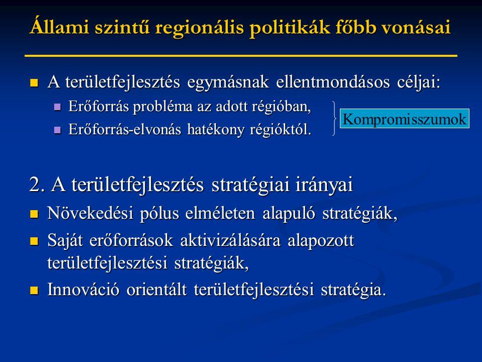 Állami szintű regionális politikák főbb vonásai A területfejlesztés egymásnak ellentmondásos céljai: A területfejlesztés egymásnak ellentmondásos céljai: Erőforrás probléma az adott régióban, Erőforrás probléma az adott régióban, Erőforrás-elvonás hatékony régióktól.