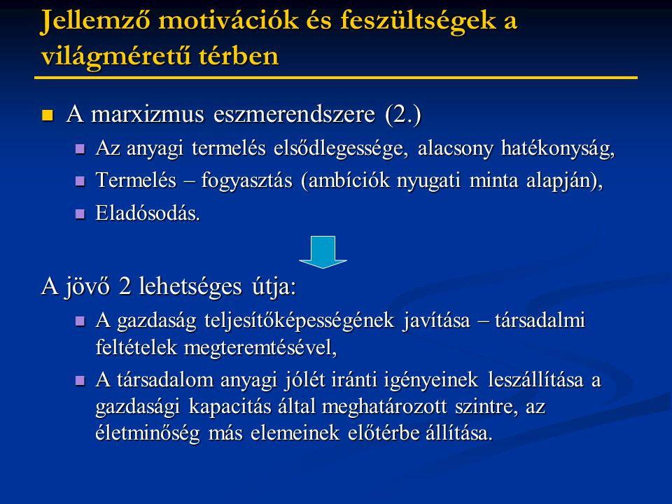 Jellemző motivációk és feszültségek a világméretű térben A marxizmus eszmerendszere (2.) A marxizmus eszmerendszere (2.) Az anyagi termelés elsődlegessége, alacsony hatékonyság, Az anyagi termelés elsődlegessége, alacsony hatékonyság, Termelés – fogyasztás (ambíciók nyugati minta alapján), Termelés – fogyasztás (ambíciók nyugati minta alapján), Eladósodás.