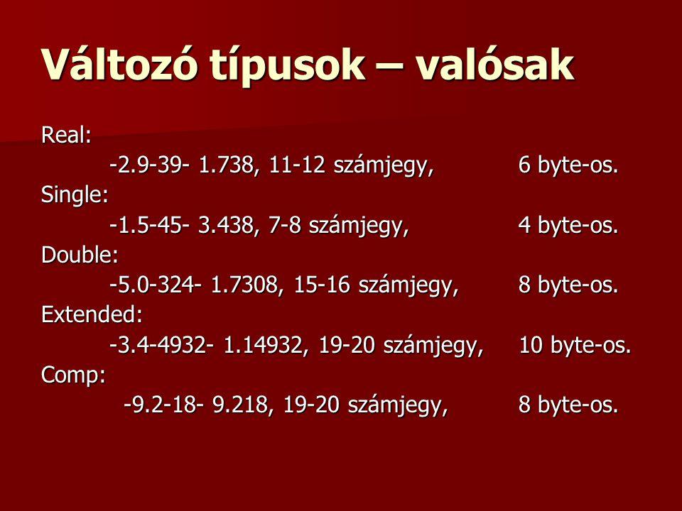 Változó típusok – valósak Real: -2.9-39- 1.738, 11-12 számjegy, 6 byte-os. Single: -1.5-45- 3.438, 7-8 számjegy, 4 byte-os. Double: -5.0-324- 1.7308,