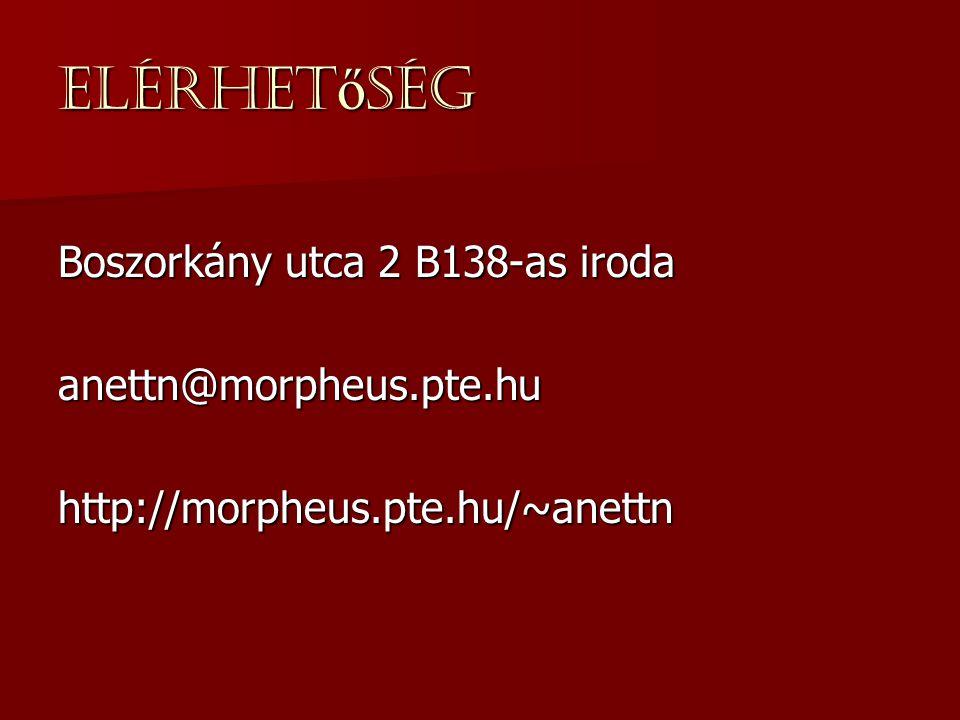 Elérhet ő ség Boszorkány utca 2 B138-as iroda anettn@morpheus.pte.huhttp://morpheus.pte.hu/~anettn