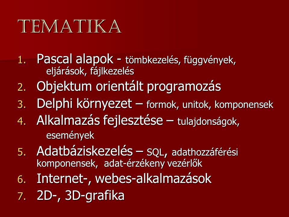 Tematika 1. Pascal alapok - tömbkezelés, függvények, eljárások, fájlkezelés 2. Objektum orientált programozás 3. Delphi környezet – formok, unitok, ko