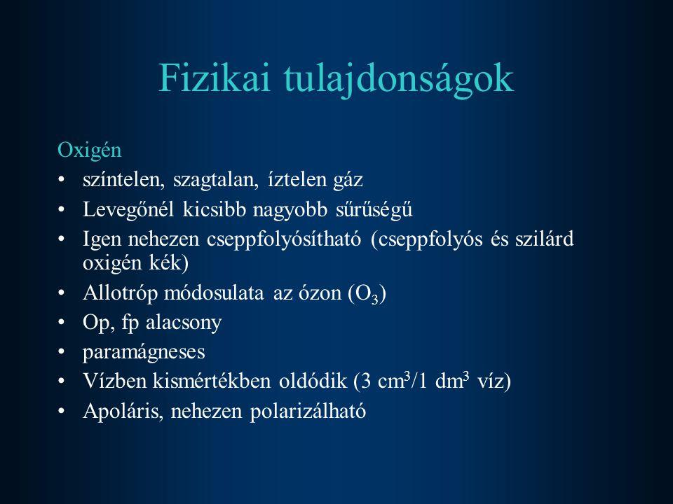 Ózon Oxigéngáz allotrop módosulata Átható szagú (ozein: bűzleni) gáz Diamágneses Kék színű Vízben jól oldódik ( 0,5 dm 3 / 1 dm 3 víz) Kémiai tulajdonságai Bomlékony  erélyes oxidálószer O 3 = O 2 + O Fémeket oxidálja 2Ag + 2O 3 = Ag 2 O 2 + 2O 2 PbS + 4O 3 = PbSO 4 + 4O 2 Fekete fehér