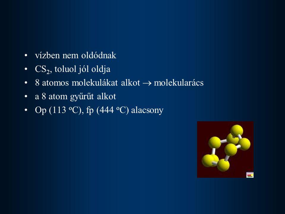 Kén kémiai tulajdonságai reakciókészsége szobahőmérsékleten nem nagy hőmérséklet növelésével fokozódik a reakciókészség Fémekkel szulfidokat alkot (kivétel, Au, Pt, Ir) heves tűztüneménnyel járó reakciók Fe + S = FeSfekete Zn + S = ZnSfehér Hidrogénnel 400 o C-on egyensúlyi reakcióban kén-hidrogénné egyesül H 2 + S = H 2 S záptojás szagú, levegőnél nehezebb, mérgező gáz vízben elég jól oldódik igen gyenge sav