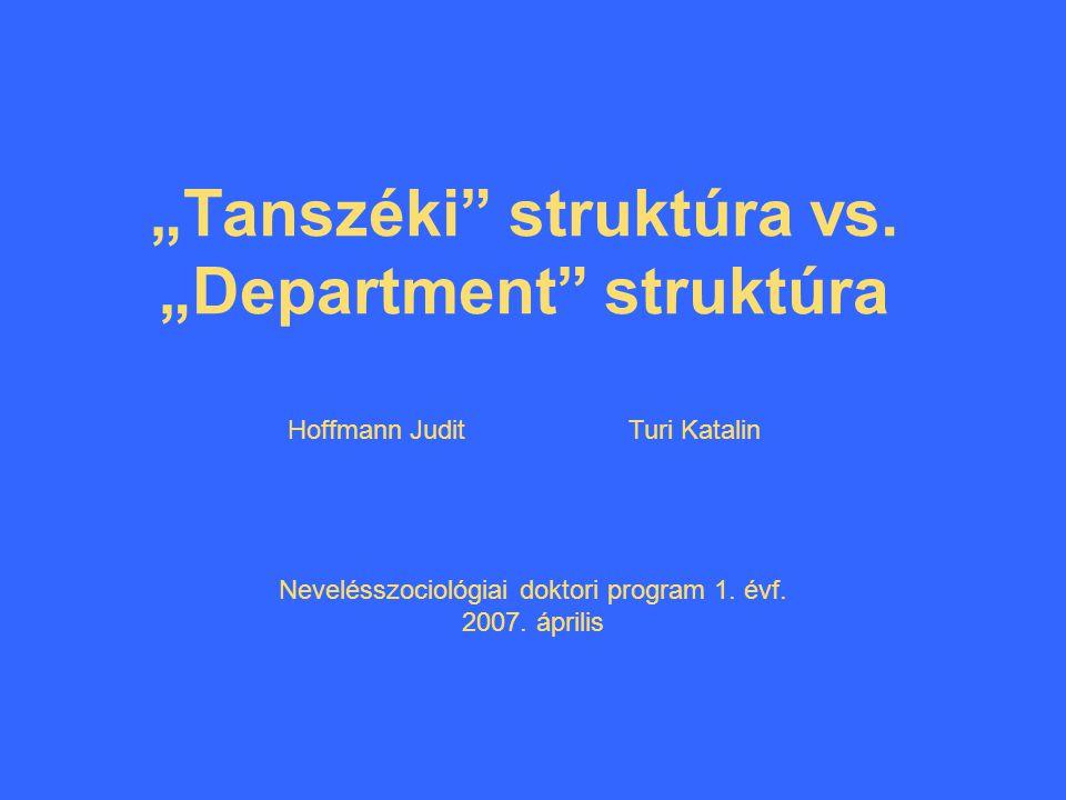 """Tanszéki struktúra vs."