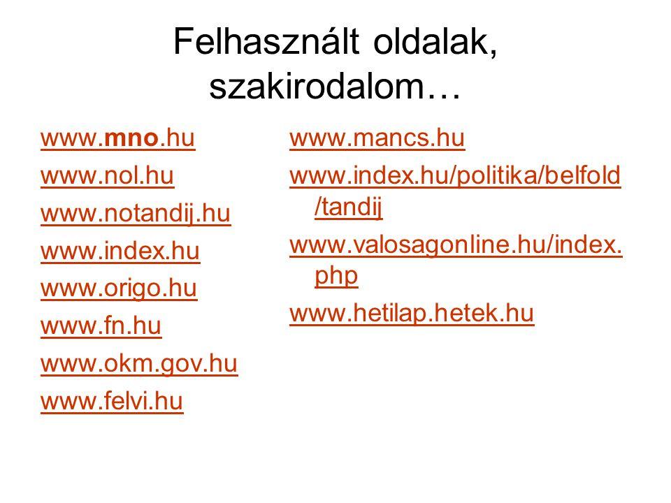 Felhasznált oldalak, szakirodalom… www.mno.hu www.nol.hu www.notandij.hu www.index.hu www.origo.hu www.fn.hu www.okm.gov.hu www.felvi.hu www.mancs.hu