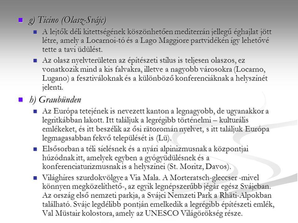 g) Ticino (Olasz-Svájc) g) Ticino (Olasz-Svájc) A lejtők déli kitettségének köszönhetően mediterrán jellegű éghajlat jött létre, amely a Locarnoi-tó é