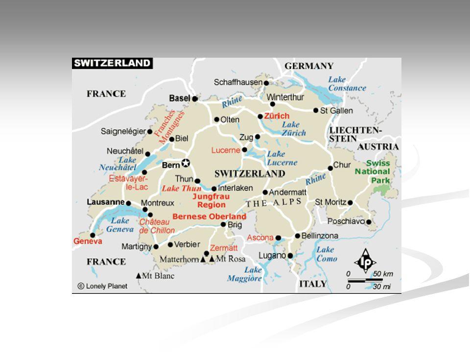Svájc Terület (km 2 ) 41 285 Népesség (ezer fő), 2004 7 000 Főváros Bern (124 412 fő, 1997) Államforma szövetségi köztársaság Hivatalos nyelv német, francia, olasz, rétoromán Pénznem 1 svájci frank=100 rappen Nemzetiségi összetétel svájci 80,6%, olasz 4,8%, jugoszláv 4,5%, portugál, spanyol, német, török Beszélt nyelv: német 63,7%, francia 19,2%, olasz 7,6%, rétoromán 0,6% GDP/fő (USD), 2004 32 700