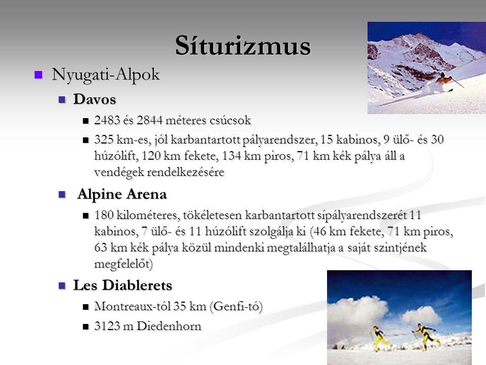 Síturizmus Nyugati-Alpok Davos 2483 és 2844 méteres csúcsok 325 km-es, jól karbantartott pályarendszer, 15 kabinos, 9 ülő- és 30 húzólift, 120 km feke