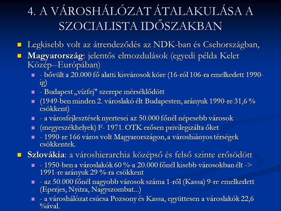 4. A VÁROSHÁLÓZAT ÁTALAKULÁSA A SZOCIALISTA IDŐSZAKBAN Legkisebb volt az átrendeződés az NDK-ban és Csehországban, Legkisebb volt az átrendeződés az N