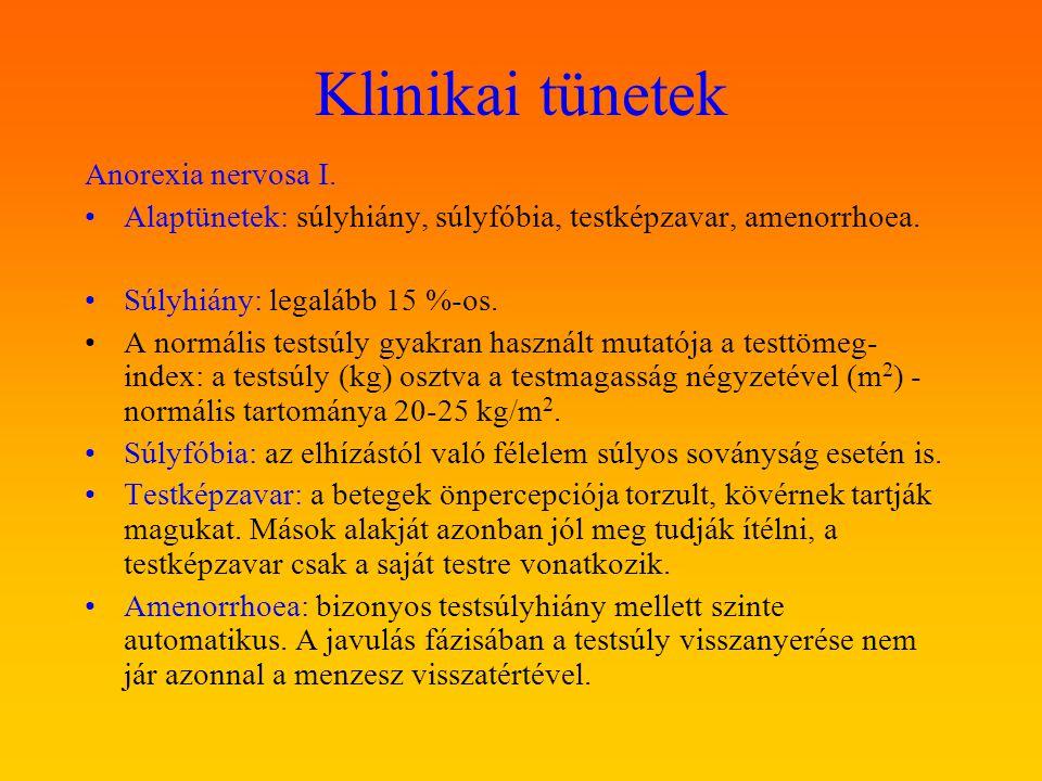 Klinikai tünetek Anorexia nervosa II.