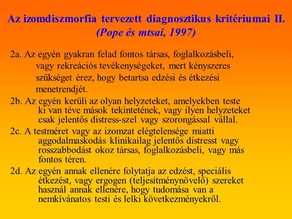Az izomdiszmorfia tervezett diagnosztikus kritériumai III.