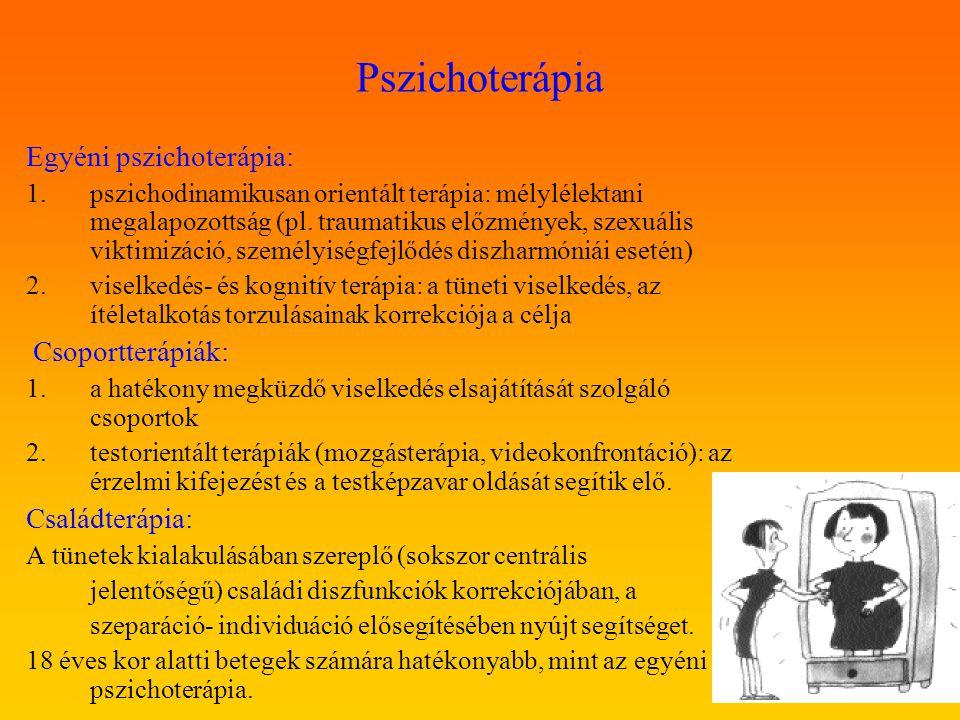 Pszichoterápia Egyéni pszichoterápia: 1.pszichodinamikusan orientált terápia: mélylélektani megalapozottság (pl. traumatikus előzmények, szexuális vik