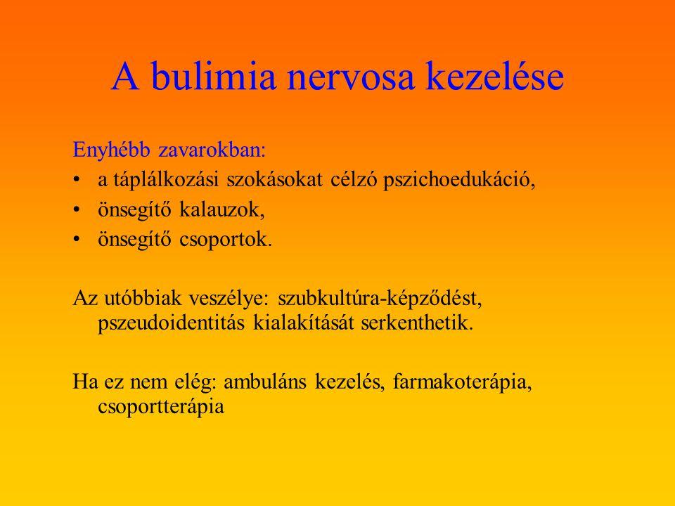 A bulimia nervosa kezelése Enyhébb zavarokban: a táplálkozási szokásokat célzó pszichoedukáció, önsegítő kalauzok, önsegítő csoportok. Az utóbbiak ves