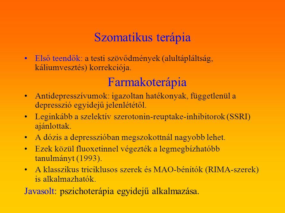 Szomatikus terápia Első teendők: a testi szövődmények (alultápláltság, káliumvesztés) korrekciója. Farmakoterápia Antidepresszívumok: igazoltan hatéko