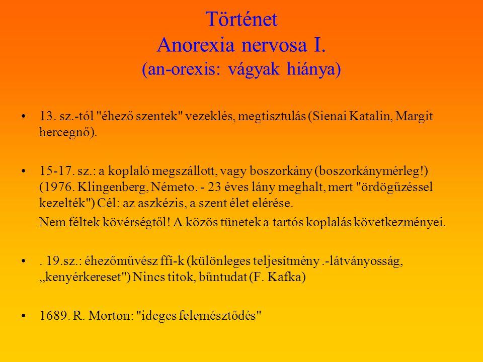 Történet Anorexia nervosa I. (an-orexis: vágyak hiánya) 13. sz.-tól