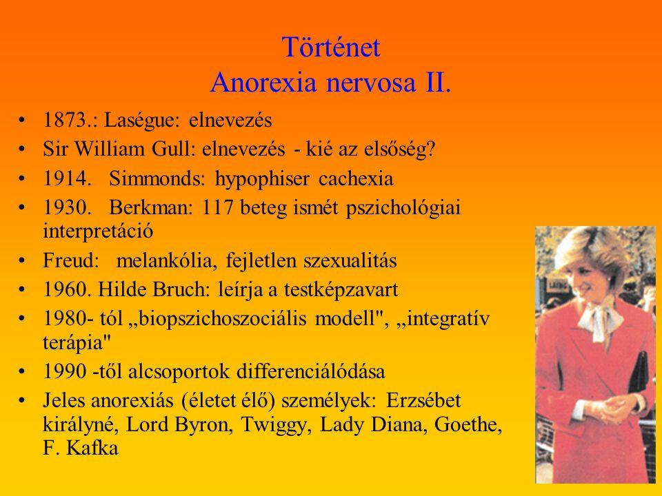 Történet Anorexia nervosa II. 1873.: Laségue: elnevezés Sir William Gull: elnevezés - kié az elsőség? 1914. Simmonds: hypophiser cachexia 1930. Berkma
