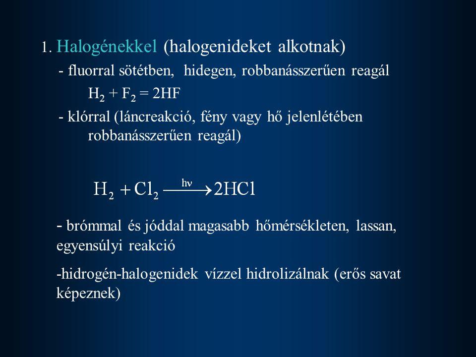 1. Halogénekkel (halogenideket alkotnak) - fluorral sötétben, hidegen, robbanásszerűen reagál H 2 + F 2 = 2HF - klórral (láncreakció, fény vagy hő jel