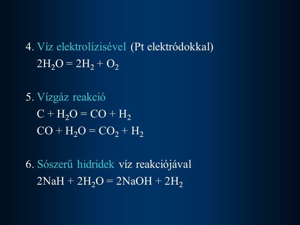 4.Víz elektrolízisével (Pt elektródokkal) 2H 2 O = 2H 2 + O 2 5.Vízgáz reakció C + H 2 O = CO + H 2 CO + H 2 O = CO 2 + H 2 6. Sószerű hidridek víz re