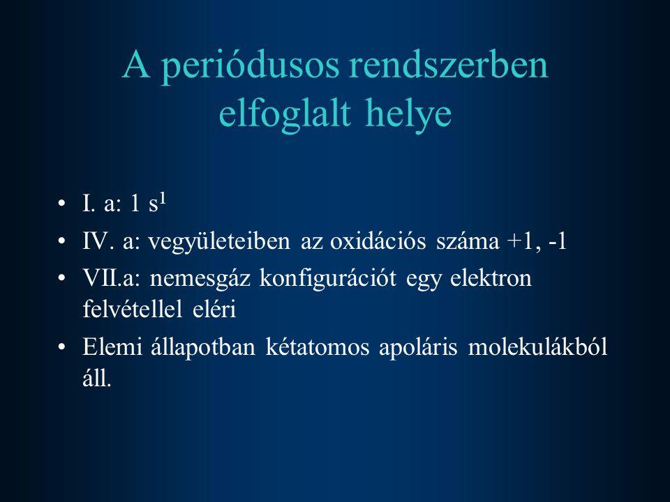 A periódusos rendszerben elfoglalt helye I. a: 1 s 1 IV. a: vegyületeiben az oxidációs száma +1, -1 VII.a: nemesgáz konfigurációt egy elektron felvéte