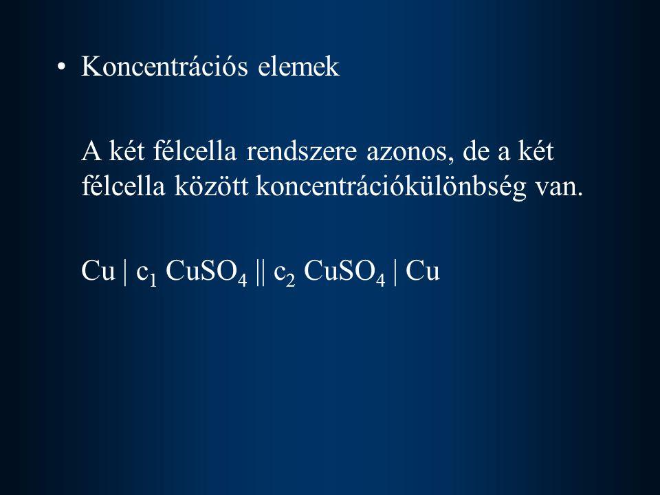 Koncentrációs elemek A két félcella rendszere azonos, de a két félcella között koncentrációkülönbség van. Cu | c 1 CuSO 4 || c 2 CuSO 4 | Cu