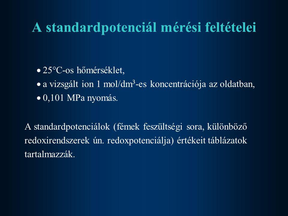 A standardpotenciál mérési feltételei  25°C-os hőmérséklet,  a vizsgált ion 1 mol/dm 3 -es koncentrációja az oldatban,  0,101 MPa nyomás. A standar