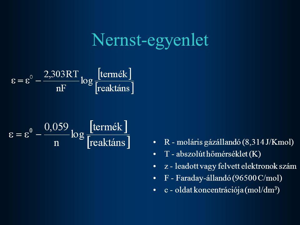 Nernst-egyenlet R - moláris gázállandó (8,314 J/Kmol) T - abszolút hőmérséklet (K) z - leadott vagy felvett elektronok szám F - Faraday-állandó (96500