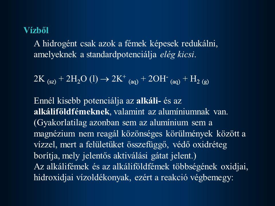 Vízből A hidrogént csak azok a fémek képesek redukálni, amelyeknek a standardpotenciálja elég kicsi. 2K (sz) + 2H 2 O (l)  2K + (aq) + 2OH - (aq) + H