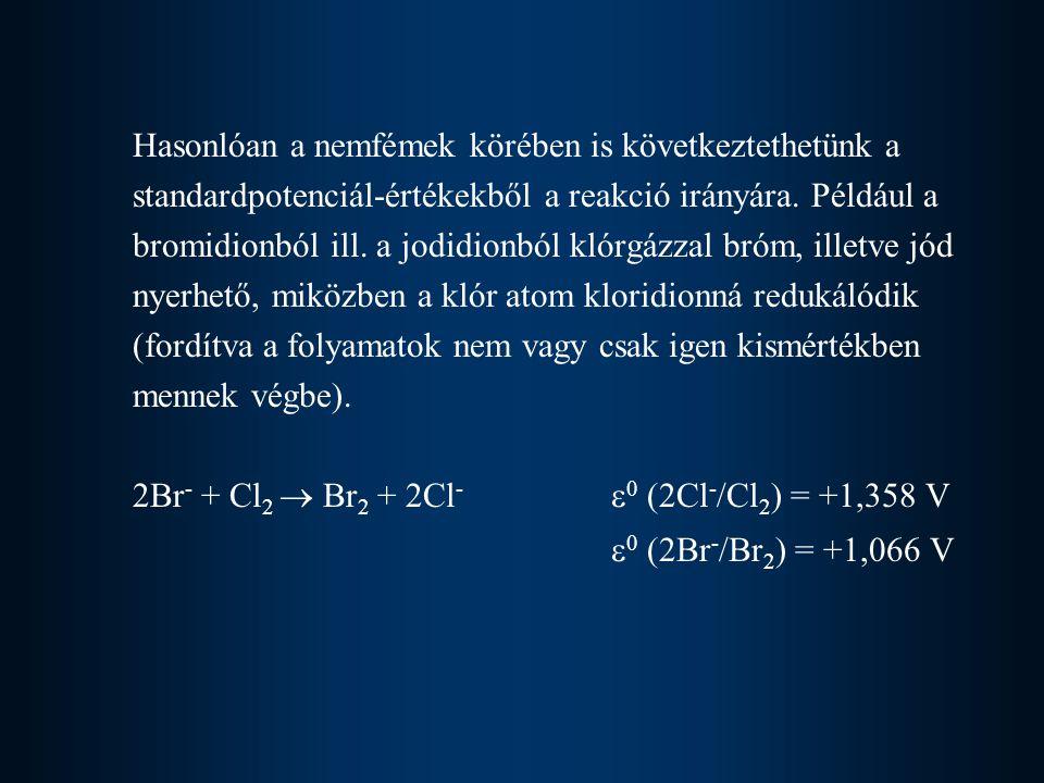 Hasonlóan a nemfémek körében is következtethetünk a standardpotenciál-értékekből a reakció irányára. Például a bromidionból ill. a jodidionból klórgáz