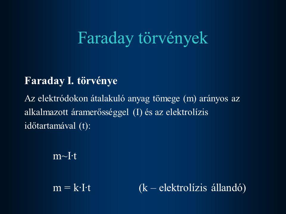 Faraday törvények Faraday I. törvénye Az elektródokon átalakuló anyag tömege (m) arányos az alkalmazott áramerősséggel (I) és az elektrolízis időtarta