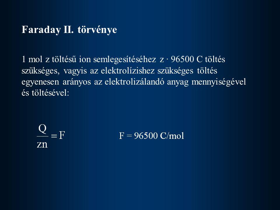 Faraday II. törvénye 1 mol z töltésű ion semlegesítéséhez z · 96500 C töltés szükséges, vagyis az elektrolízishez szükséges töltés egyenesen arányos a