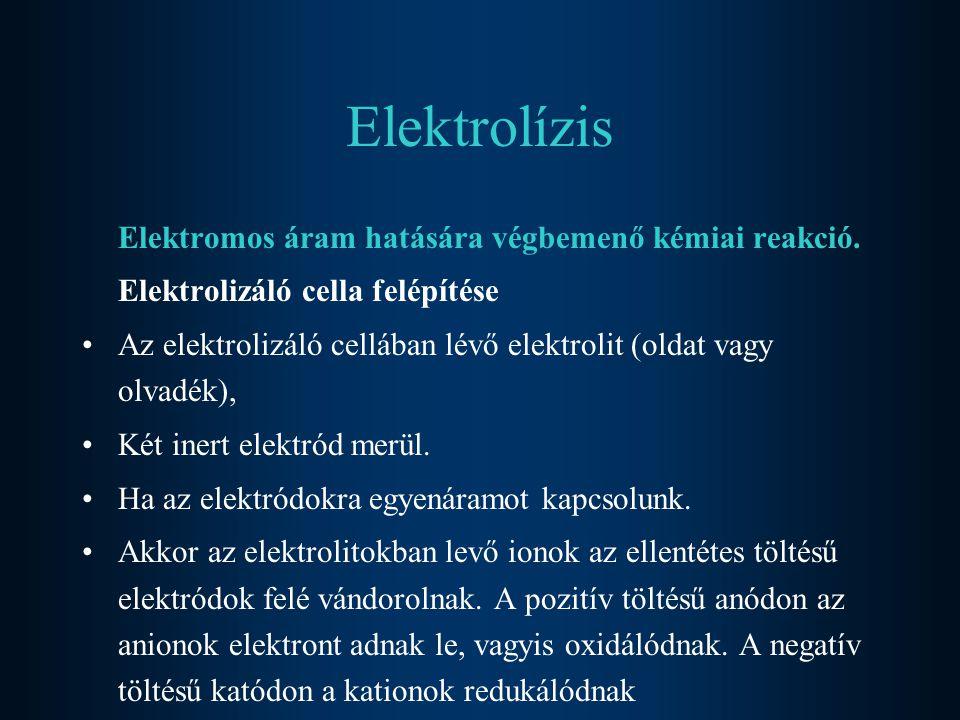 Elektrolízis Elektromos áram hatására végbemenő kémiai reakció. Elektrolizáló cella felépítése Az elektrolizáló cellában lévő elektrolit (oldat vagy o