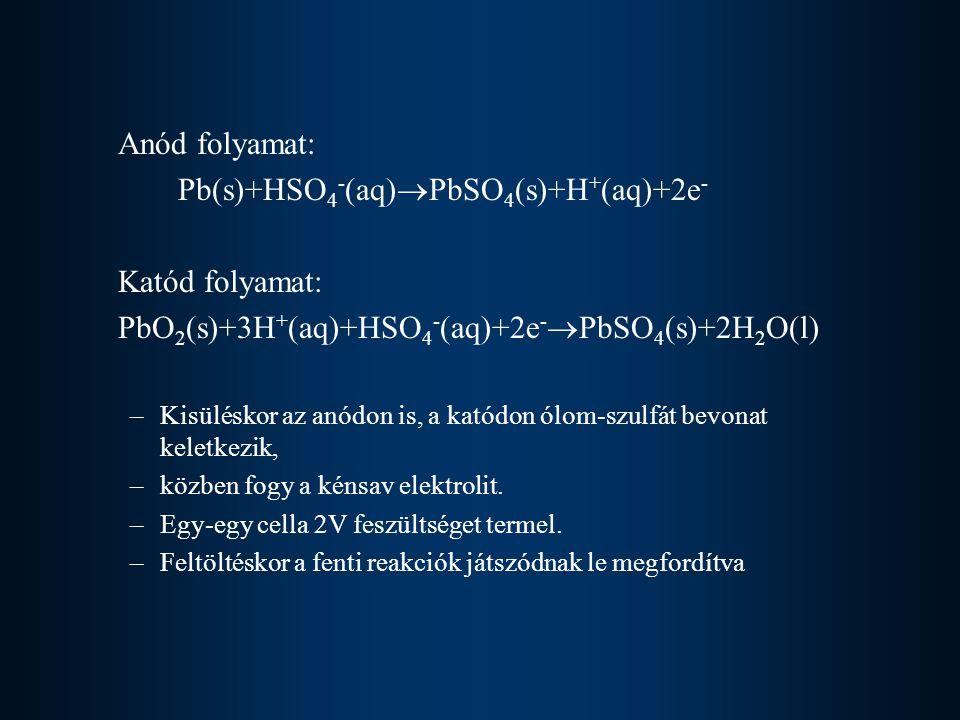Anód folyamat: Pb(s)+HSO 4 - (aq)  PbSO 4 (s)+H + (aq)+2e - Katód folyamat: PbO 2 (s)+3H + (aq)+HSO 4 - (aq)+2e -  PbSO 4 (s)+2H 2 O(l) –Kisüléskor
