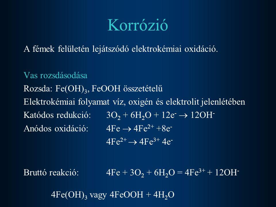 Korrózió A fémek felületén lejátszódó elektrokémiai oxidáció. Vas rozsdásodása Rozsda: Fe(OH) 3, FeOOH összetételű Elektrokémiai folyamat víz, oxigén