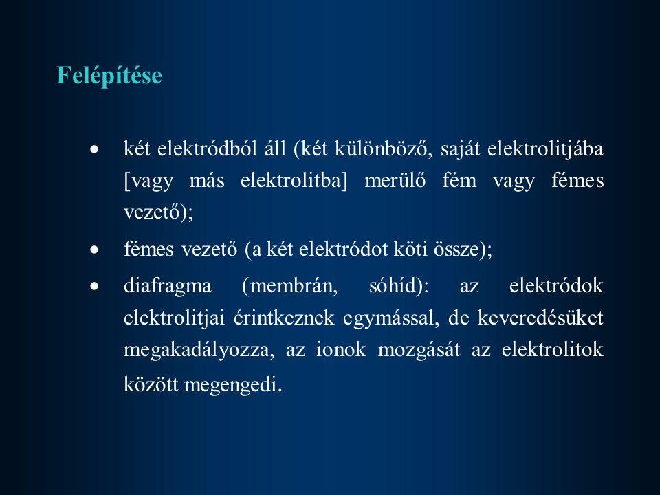 Felépítése  két elektródból áll (két különböző, saját elektrolitjába [vagy más elektrolitba] merülő fém vagy fémes vezető);  fémes vezető (a két ele