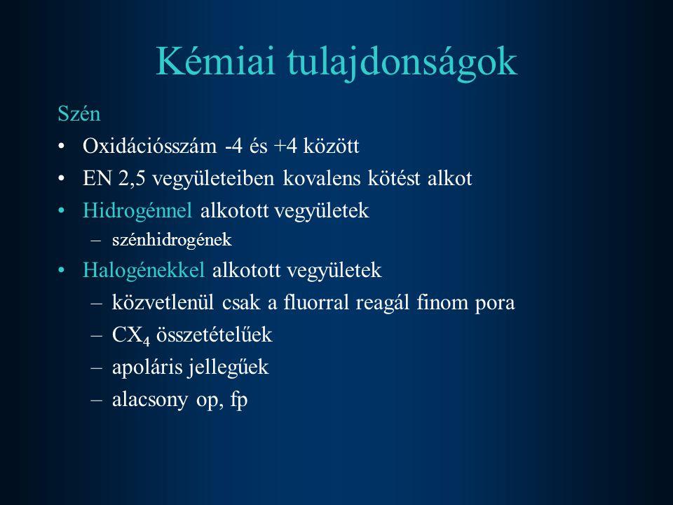 Kémiai tulajdonságok Szén Oxidációsszám -4 és +4 között EN 2,5 vegyületeiben kovalens kötést alkot Hidrogénnel alkotott vegyületek –szénhidrogének Hal