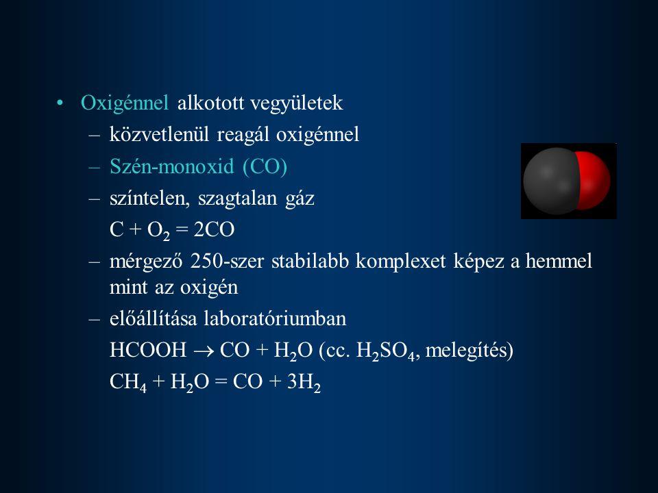 –CO- acélpalackban tárolni tilos, megeszi (szivacsos lesz) Fe + 5CO = [Fe(CO) 5 ] - olajszerű vegyület –CO + NaOH = HCOONa (nátrium-formiát) –éghető gáz (kék lánggal ég), levegővel robbanóelegyet alkot 2CO + O 2 = 2CO 2 –jó redukálószer Fe 2 O 3 + 3CO = 2Fe + 3CO 2