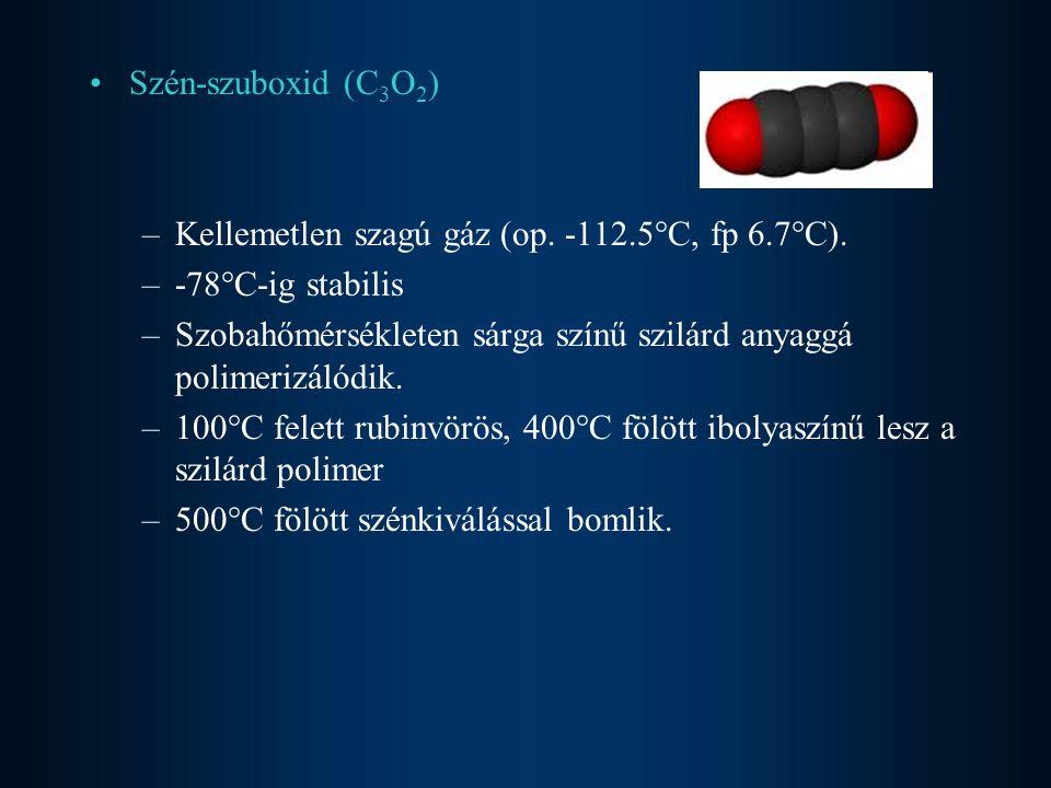 Kénnel vörös izzáson szén-diszulfiddá C + 2S = CS 2 –Színtelen, illékony, kellemetlen szagú, mérgező folyadék Fémekkel karbidokká (CaC 2, Fe 3 C) Vízzel való reakció (izzó szén) C + H 2 O  CO + H 2 (vízgáz reakció) nagyon fontos szintetikus nyersanyag CO + H 2 O = CO 2 + H 2 könnyen eltávolítható (vízben elnyeletik) CO + H 2 = HCHO CO + 2H 2 = CH 3 OH Magas hőmérsékleten erős redukálószer.