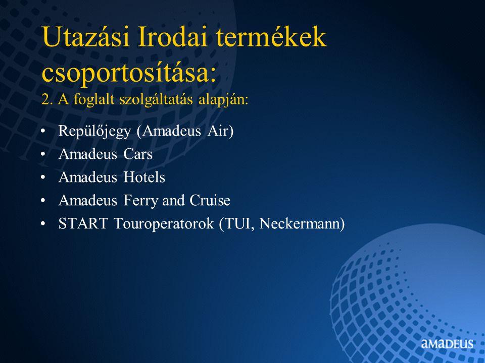 Utazási Irodai termékek csoportosítása: 2.