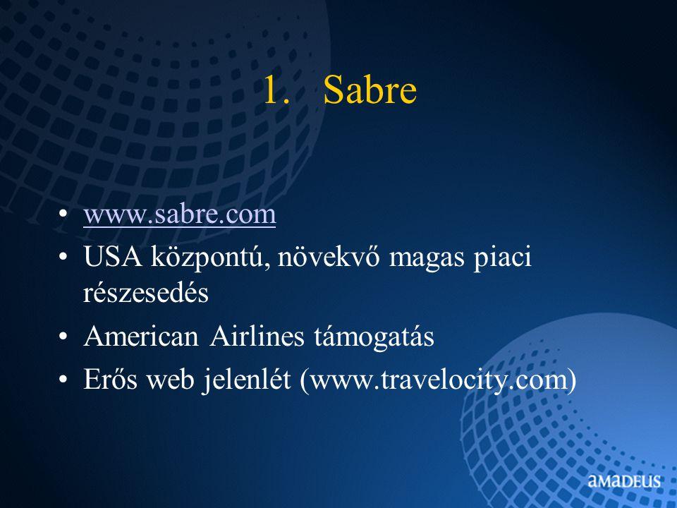 1.Sabre www.sabre.com USA központú, növekvő magas piaci részesedés American Airlines támogatás Erős web jelenlét (www.travelocity.com)