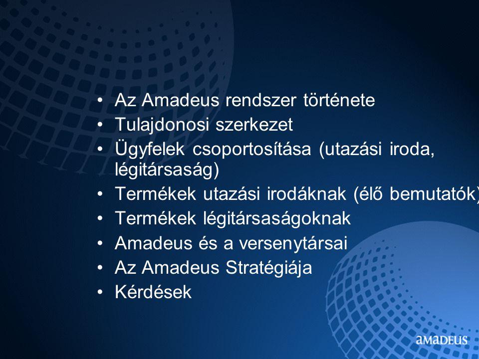 Az Amadeus rendszer története Tulajdonosi szerkezet Ügyfelek csoportosítása (utazási iroda, légitársaság) Termékek utazási irodáknak (élő bemutatók) Termékek légitársaságoknak Amadeus és a versenytársai Az Amadeus Stratégiája Kérdések