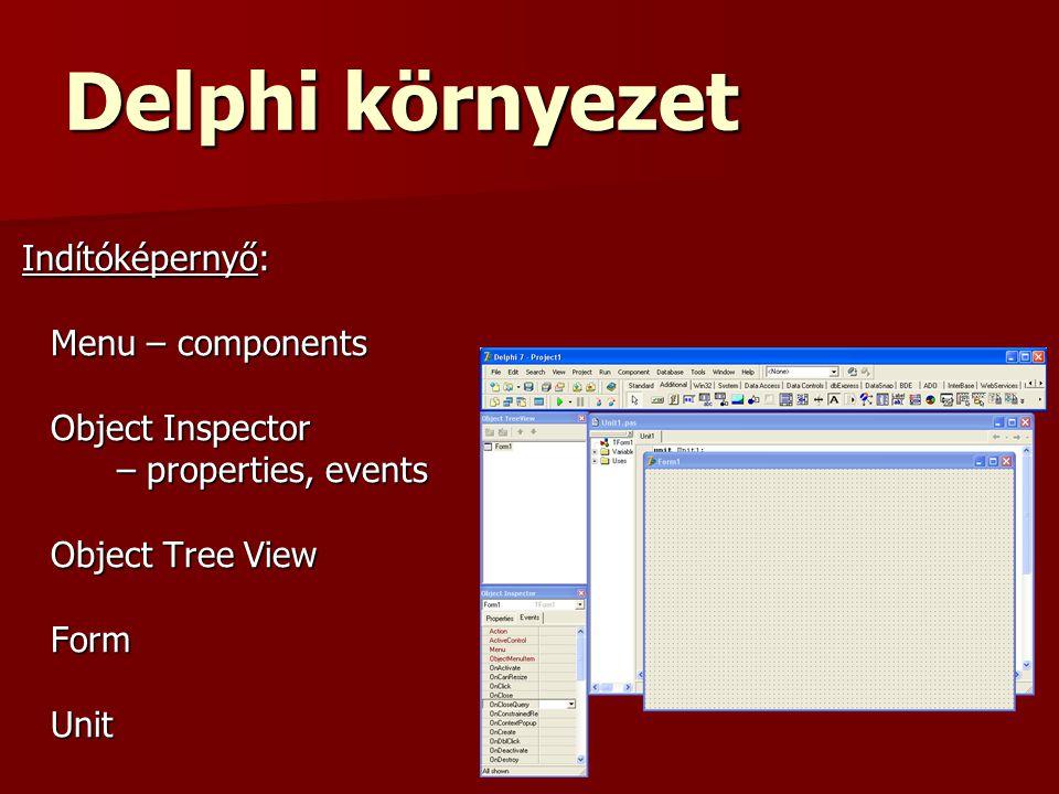 Delphi környezet Indítóképernyő: Indítóképernyő: Menu – components Object Inspector – properties, events Object Tree View FormUnit