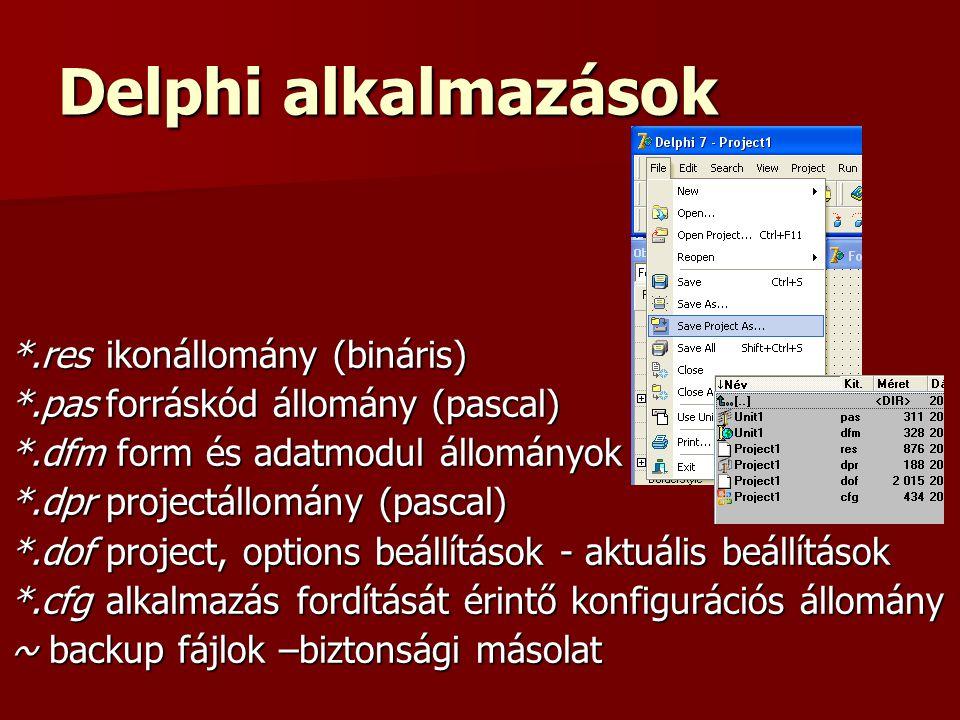 Delphi alkalmazások *.resikonállomány (bináris) *.pasforráskód állomány (pascal) *.dfm form és adatmodul állományok *.dprprojectállomány (pascal) *.dofproject, options beállítások - aktuális beállítások *.cfgalkalmazás fordítását érintő konfigurációs állomány ~ backup fájlok –biztonsági másolat