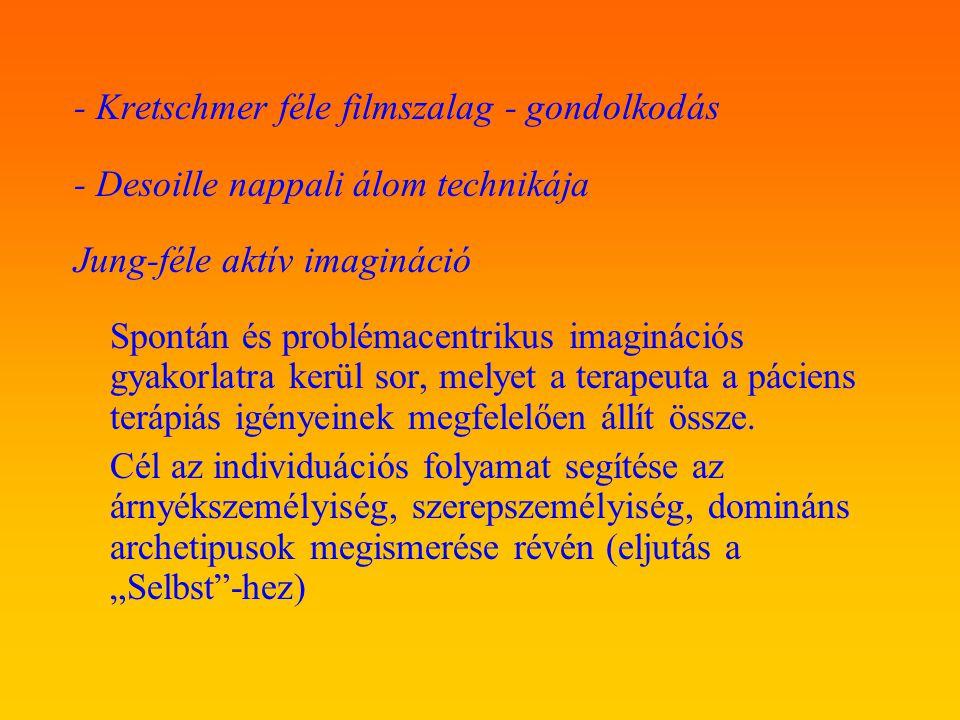 - Kretschmer féle filmszalag - gondolkodás - Desoille nappali álom technikája Jung-féle aktív imagináció Spontán és problémacentrikus imaginációs gyak