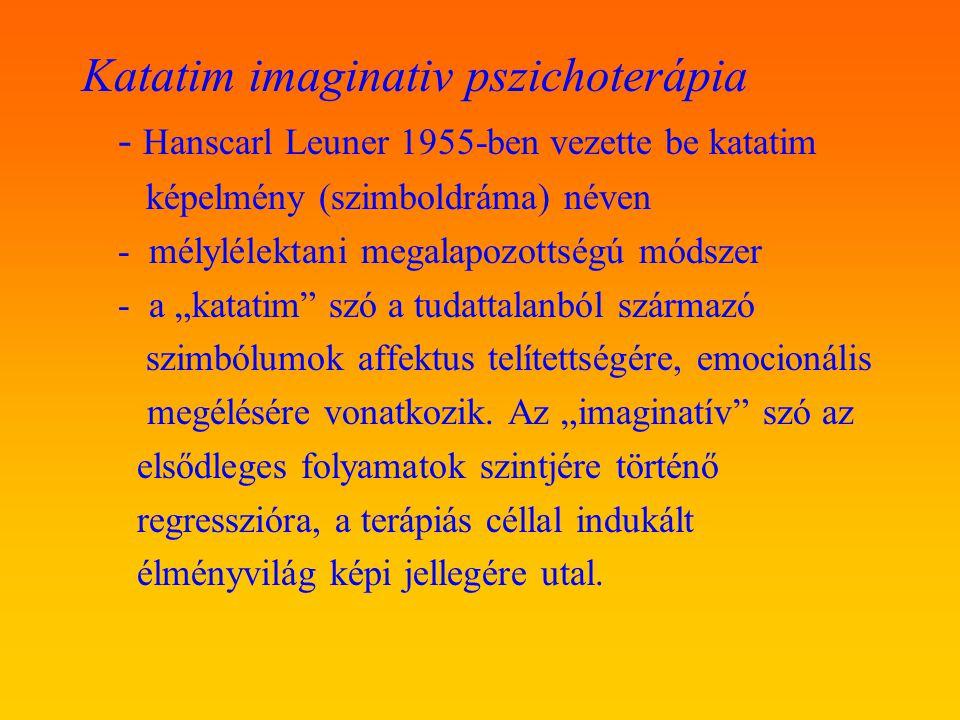 Katatim imaginativ pszichoterápia - Hanscarl Leuner 1955-ben vezette be katatim képelmény (szimboldráma) néven - mélylélektani megalapozottségú módsze