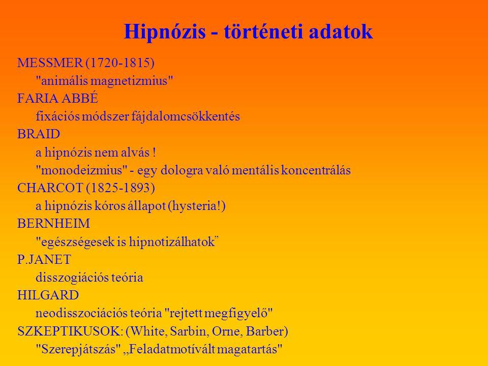 Hipnózis - történeti adatok MESSMER (1720-1815)
