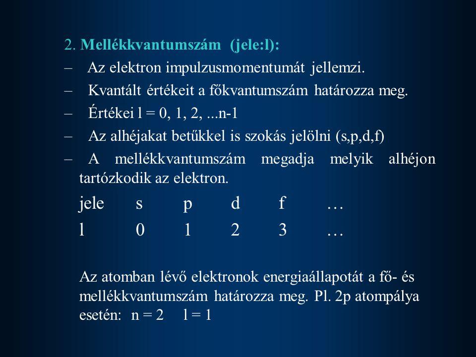 2.Mellékkvantumszám (jele:l): – Az elektron impulzusmomentumát jellemzi.